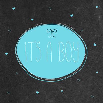 Hippe kaart met krijtbordprint. Leuk om te sturen als er een jongetje is geboren.  Design: Boefjespost  Te vinden op: www.kaartje2go.nl