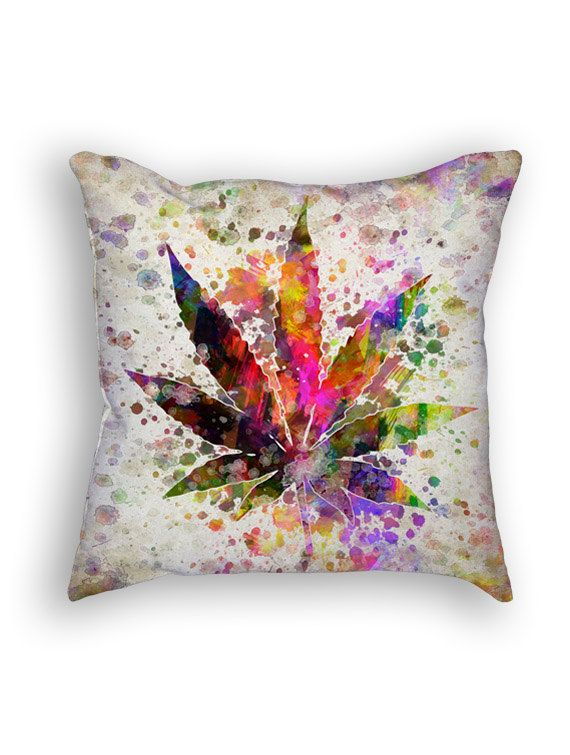 Marijuana Leaf Throw Pillow 18x18 Cushion Home Decor Gift Idea Pillow Case