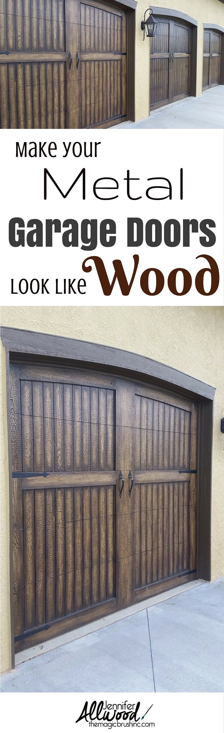 Get instant curb appeal with gorgeous, fauxed garage doors.  This how-to video will teach you everything you need to know to make your metal garage doors look like real wood! More painting tips and faux finishes at theMagicBrushinc.com