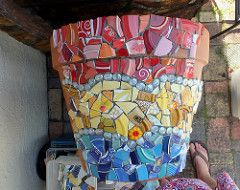 WIP Giant Flower Pot #2 (dumblady mosaics) Tags: abstract art wall garden mexico mixed media colorful fiesta handmade glassgems rustic large mosaics style pot mexican hippie flowerpot dishes shards dinnerware piqueassiette thinset picassiette mosaicart brokenplates christinemorris dumbladymosaics