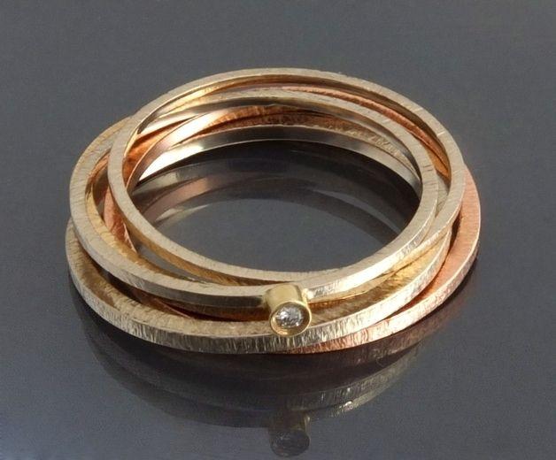 BIZOE - komplet 2 złotych pierścionków modułowych  w BIZOE na DaWanda.com
