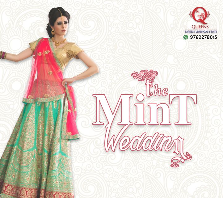 Be an off-beat bride and choose a new age colour like mint green with golden. ‪#‎QueensEmporium‬ ‪#‎mumbai‬ ‪#‎mint‬ ‪#‎lehenga‬ #indian #wedding #trends