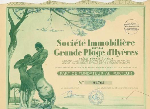 Société Immobilière de la Grande Plage d'Hyères, Paris, 1929