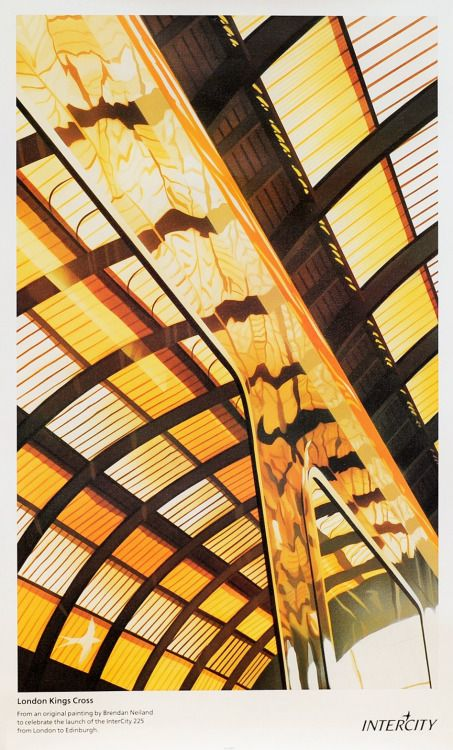 One of a great series of images by Brendan Neiland used on British Rail posters in the early 1990s. It takes a moment to see the roof of Kings Cross station reflected in the gleaming side of an Intercity carriage. Though as I recall, they were rarely...