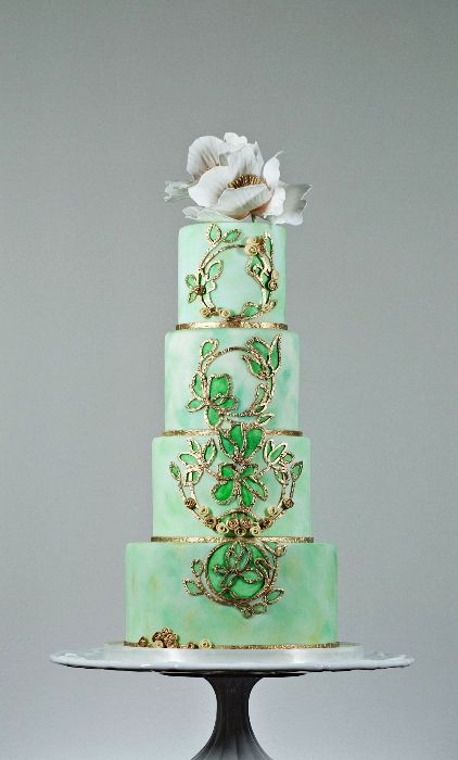 My Fave Tiered Green Ombre Wedding Cake Ever - by The Cake Whisperer - Art Nouveau (Barbara Ann Studios)