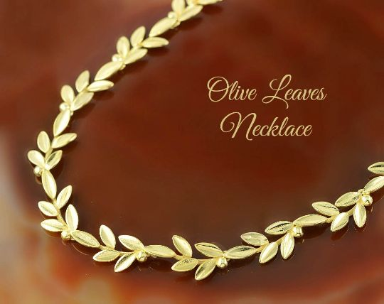 A golden necklace with the olive leaves - perfect bridal jewelry. A unique gift for a bridesmaid.  The olive wreath adorned the head of every Greek goddess and emphasized the beauty of her femininity.