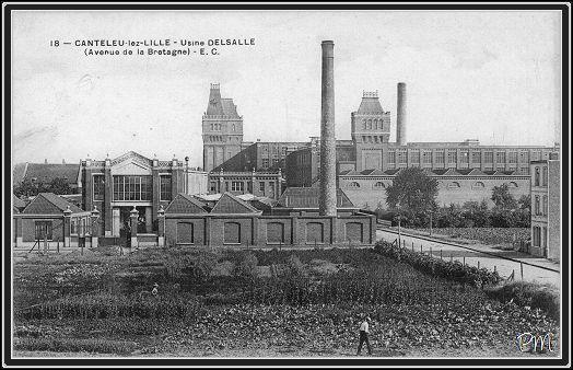 La cotonnière du groupe Le Blan, à Lille. Cette photo (prise avant 1914) nous montre que l'usine est implantée dans un espace encore semi-rural qui rappelle que le développement industriel du quartier est encore partiel au début du XXe siècle. (archives site Lille d'antan)