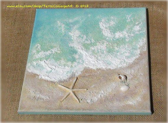 The Tide, Abstract Original Mixed Media Art. Unframed. Sea shell beach home decor nautical gift idea
