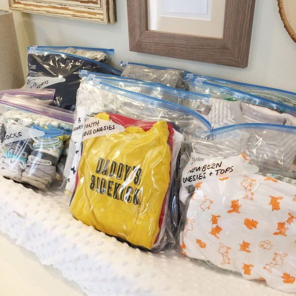 Organize your baby's outgrown clothes for storage and reuse in the future