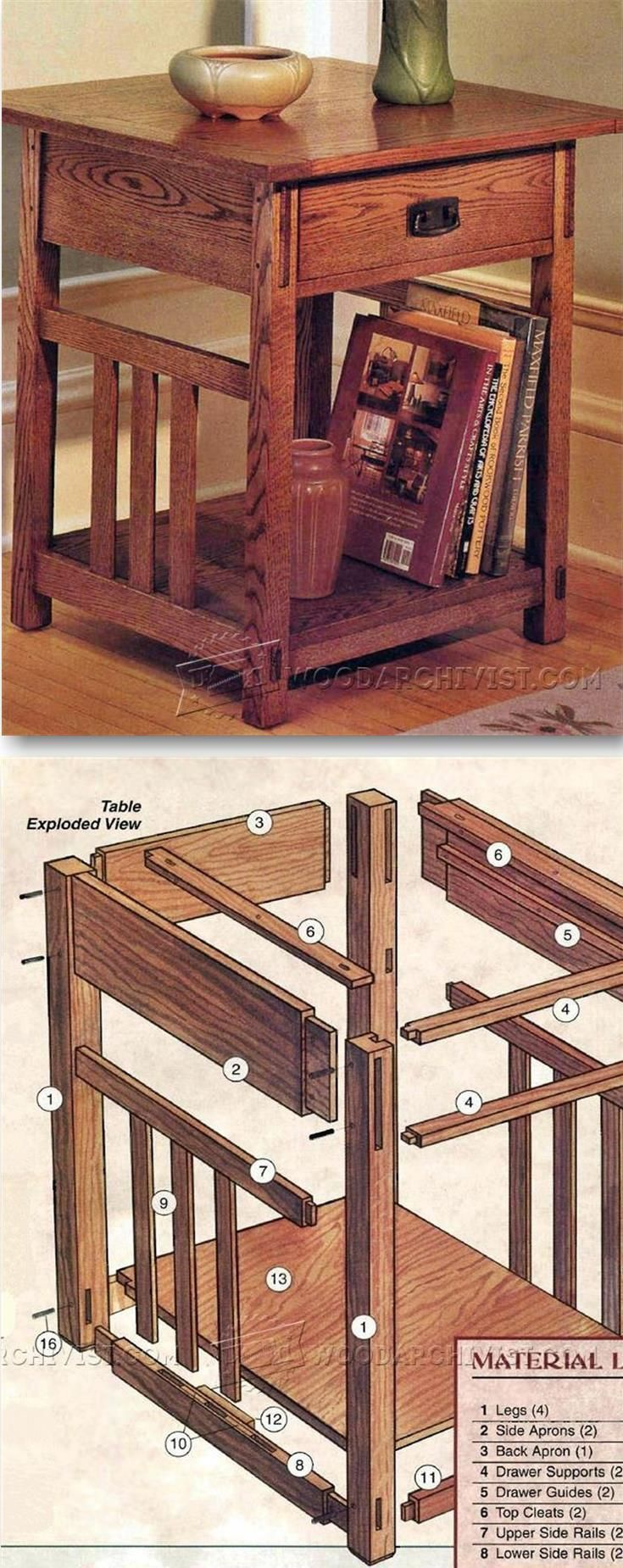 Arts & Crafts End Table Plans - Furniture Plans and Projects | http://WoodArchivist.com