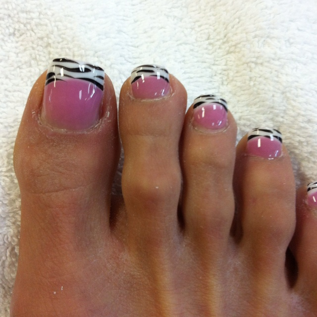 Acrylic nails on toes with zebra print..so cute!