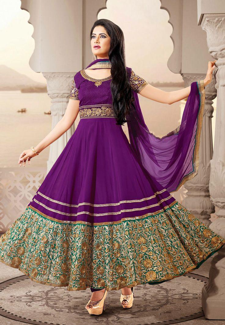 Dark Violet Faux Georgette Anarkali Churidar Kameez Online Shopping: KGB2609