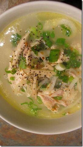 Chao ga. Vietnamese rice porridge with whole chicken
