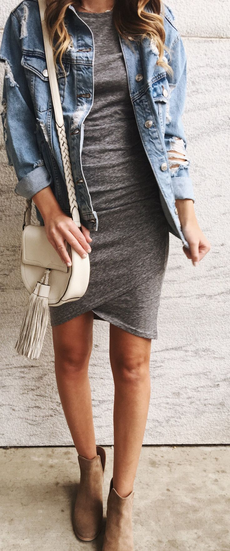 #spring #outfits woman wearing gray denim jacket and gray cocktail dress. Pic by @twentiesgirlstyle