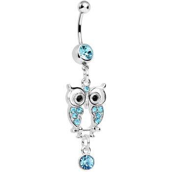 Aqua Gem Owl Dangle Belly Ring #piercing #bodycandy #bellyring