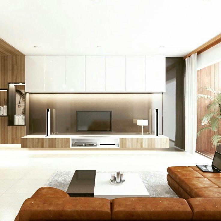 Living minimalist design. Wood + white combination.