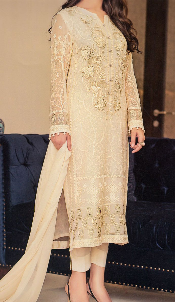 Buy Ivory/Dark Skin Embroidered Chiffon Dress by Baroque 2015.