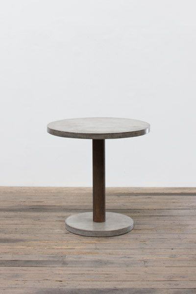 Round Concrete Bar Table With Rustic Pedestal Base