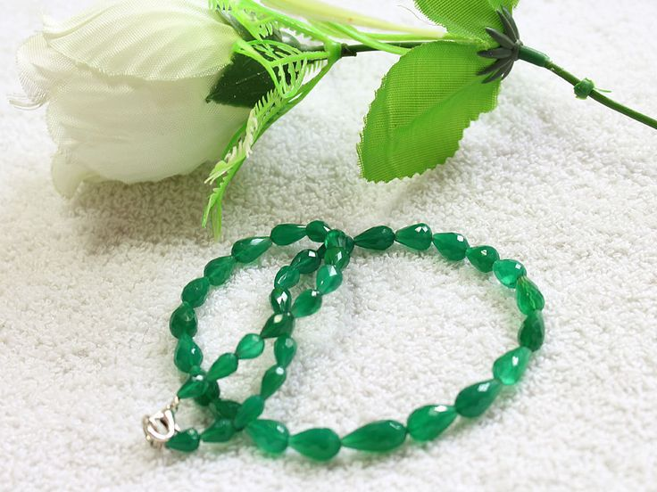 1 Strand 100% Natural AAA Quality Green Onyx Drops Beads Necklace 14x7mm-7x5mm Faceted Lobster Lock Gemstone Necklace 15'' Long Strand by zakariyagems on Etsy