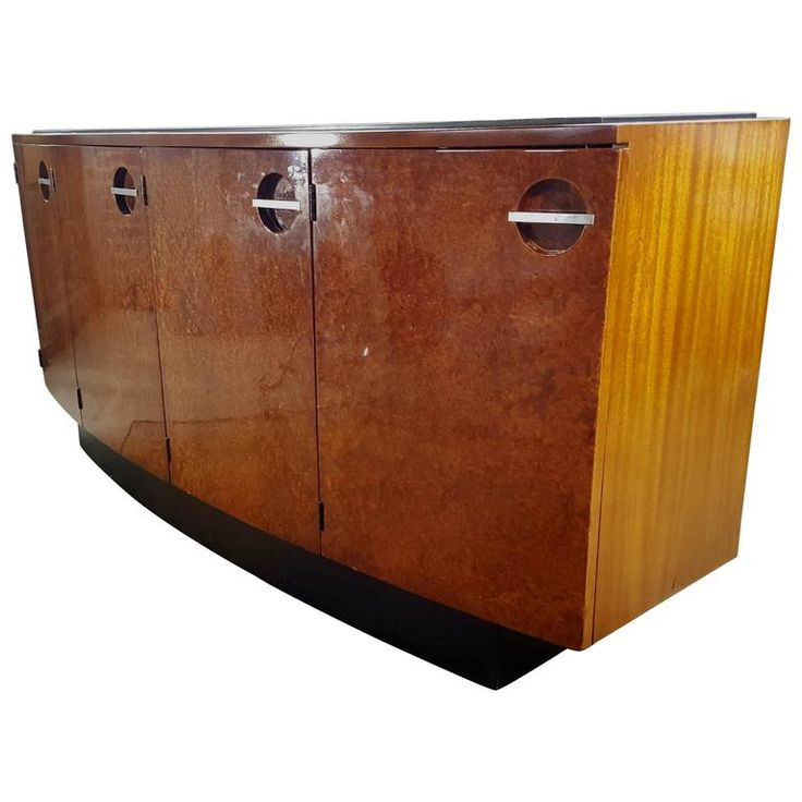 Classic Art Deco Burl Mahogany Sideboard, Gilbert Rohde for Herman Miller | From a unique collection of antique and modern sideboards at https://www.1stdibs.com/furniture/storage-case-pieces/sideboards/