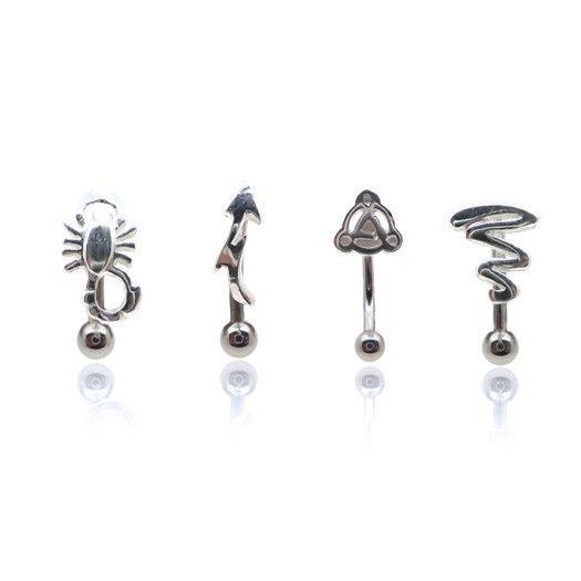 Belle collection de piercings d'arcade pour homme et femme avec motif en argent sur une barre en acier chirurgical.