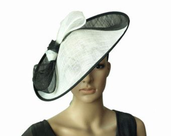 Noir blanc grande soucoupe bibi sinamay chapeau mariage robe de mariée église chapeau bibi avec noeud, pour les courses de Kentucky derby fête