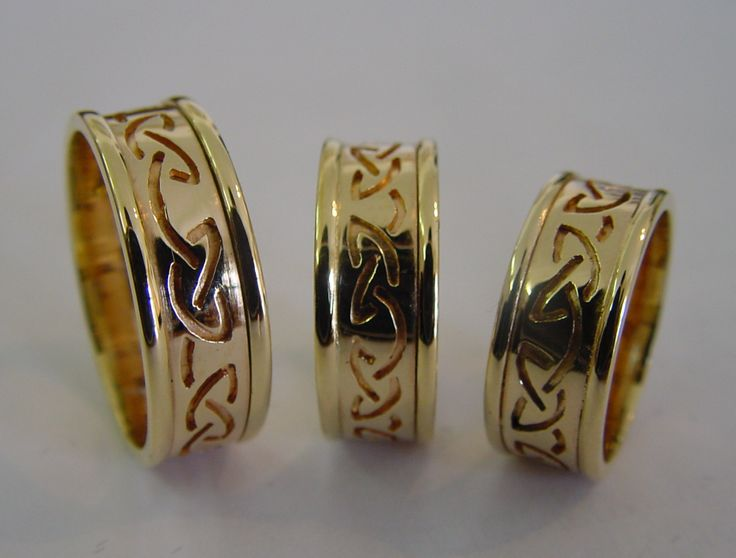 Celtic custom made bands in 18ct yellow gold