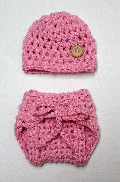 Girly Newborn Pink Hat And Diaper Cover Set