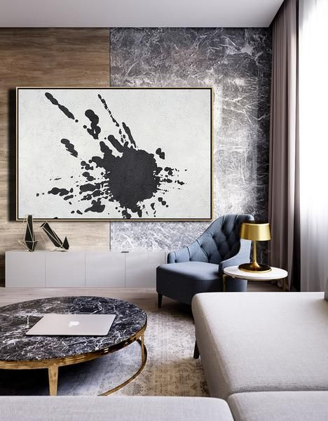 CZ Art Design. Horizontal Minimalist Splash Art on canvas, black and white minimalist painting for neutral homes. #MN13C
