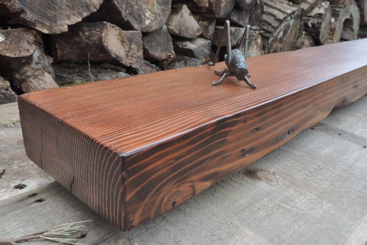 Reclaimed Wood Fireplace Mantel or Mantle Shelf (83-1/2 x 7-3/8 x 3) - Rustic Douglas Fir Stained Red Oak - Harvestbilt - Barn Beam by Harvestbilt on Etsy