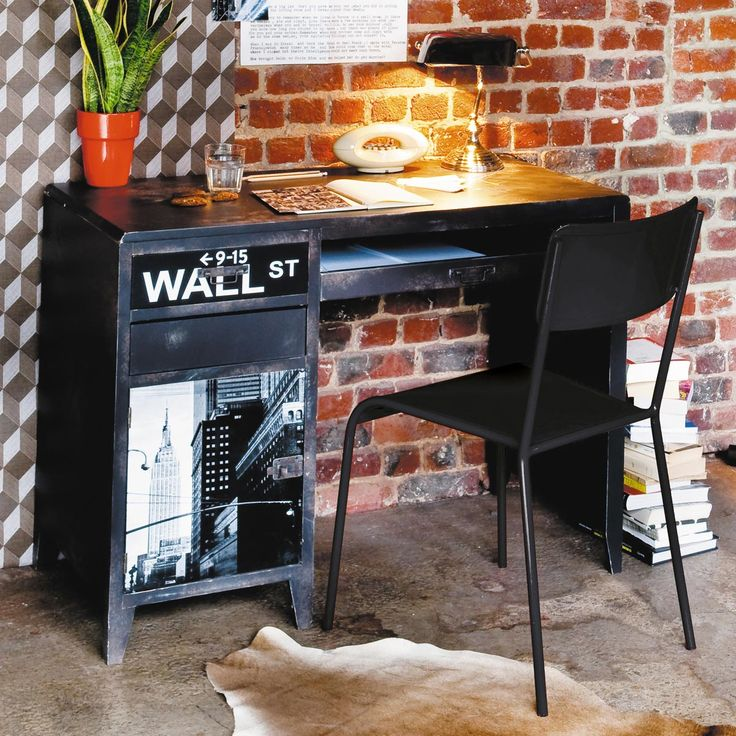 Zwarte metalen industriële stoel Edison | Maisons du Monde