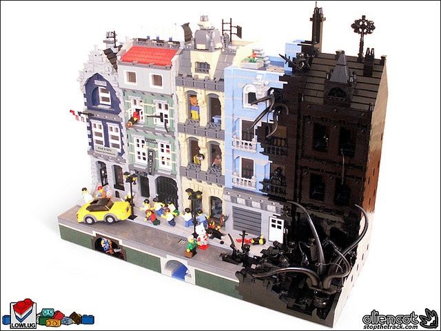 This is cool, a Lego city street being consumed by mysterious inkiness