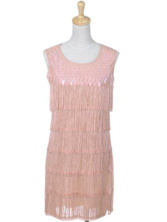 Fit pretty pink vintage inspired flapper dress w scale detail clothing