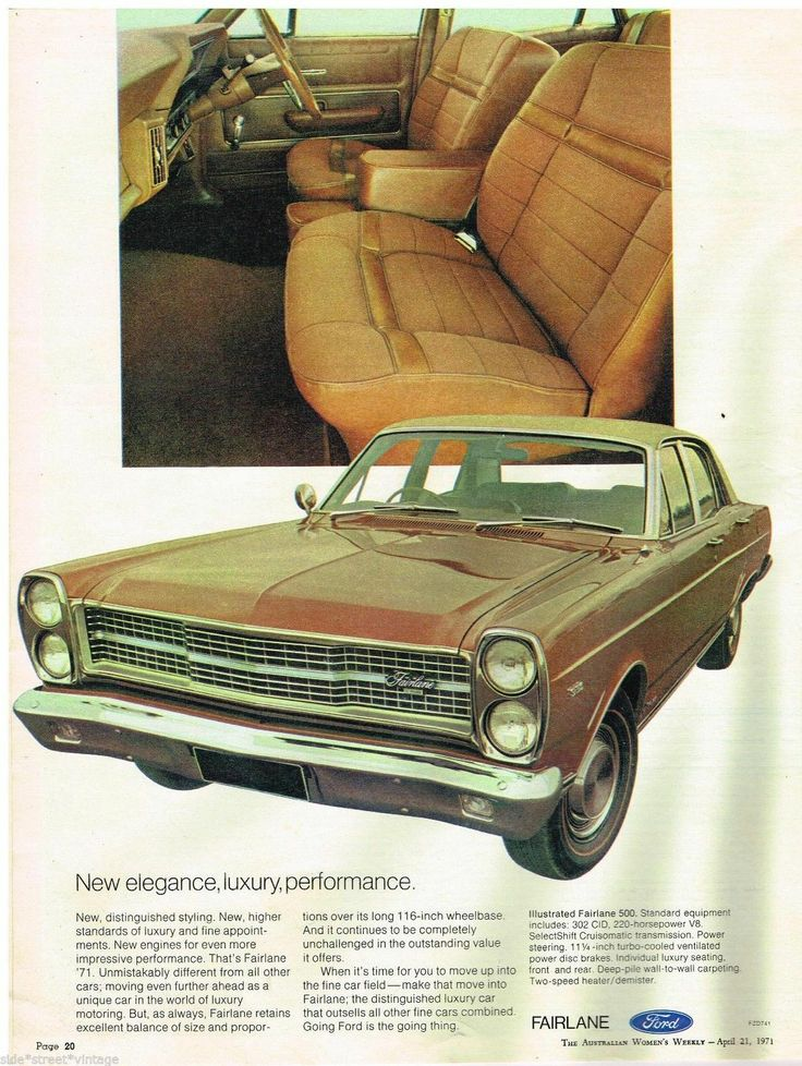 Ford CAR AD Fairlane Australian Ford Vintage Advertising 1971 Original AD | eBay