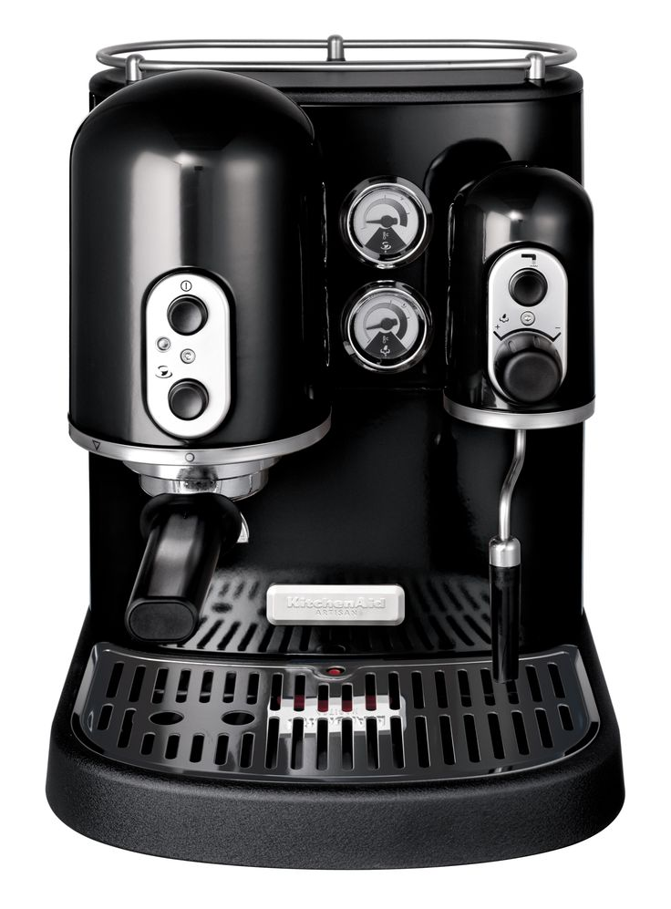 Onyx Black - Artisan Espresso Machine  1300W die-cast construction features independent espresso and steam boiler, rotating frothing arm, 2 filter baskets, tamper, nozzle, brush, scoop and stainless steel frothing jug
