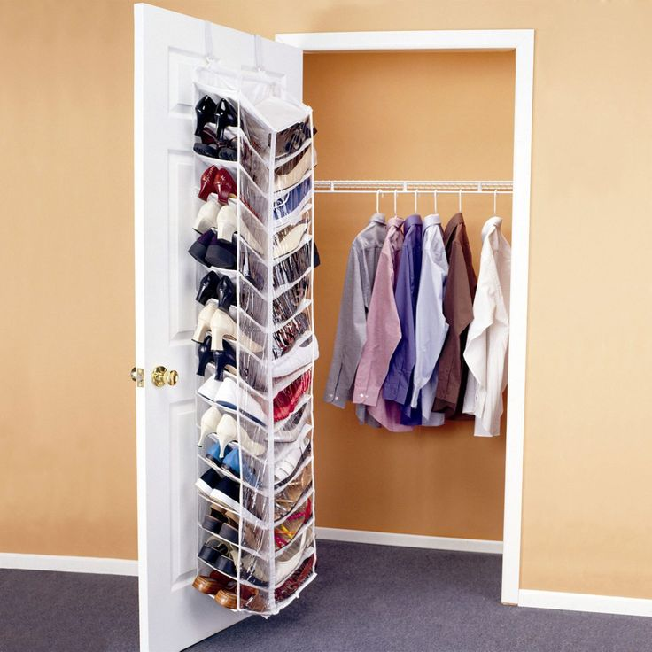 Over-door Shoe Rack. If floor space is a serious issue wherever you plan to store your shoes, then buy an over-door shoe rack. Over-door shoe racks usually hang over a closet or bedroom door and have either slots in which to tuck shoes or knobs from which to hang shoes. While over-door shoe racks probably aren't ideal for entryways, they can be a good shoe storage solution in bedrooms or small apartments.