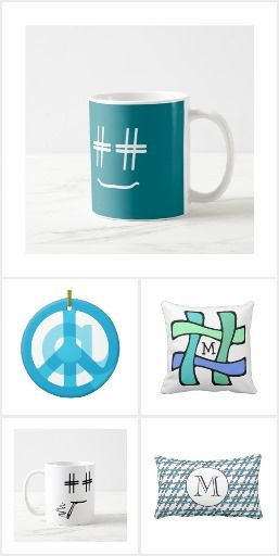 Social Media Home & Office - These products showcase hashtags and @ symbols in unique, colorful, and modern ways.  These hashtag and @ symbol designs are great for fans of social media and internet marketing.  #cute #funny #geek #shower #gifts #socialmedia #social #media #twitter #instagram #facebook #symbol #emoji #emoticon #smiley #face #peace #sign #@