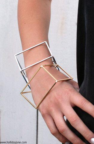 Geometric Jewelry //  Rectangular Prism Cuff Bracelets @hollidayjune