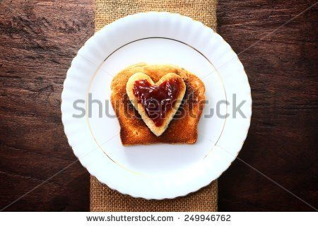 Delicious crunchy toast on a white plate, valentine treat