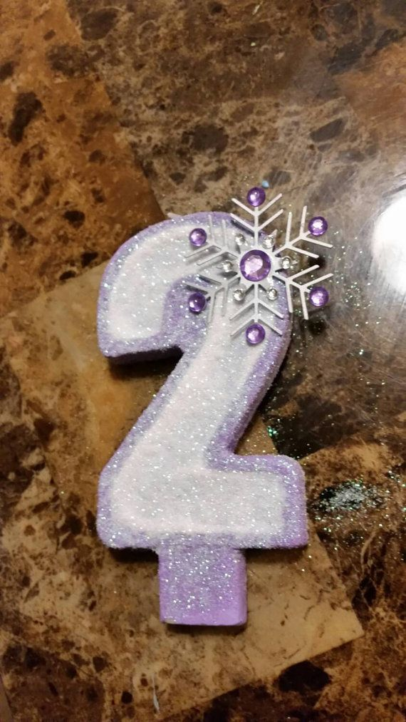Snowflake Painted Candle with Glitter  birthday by AEinspirations
