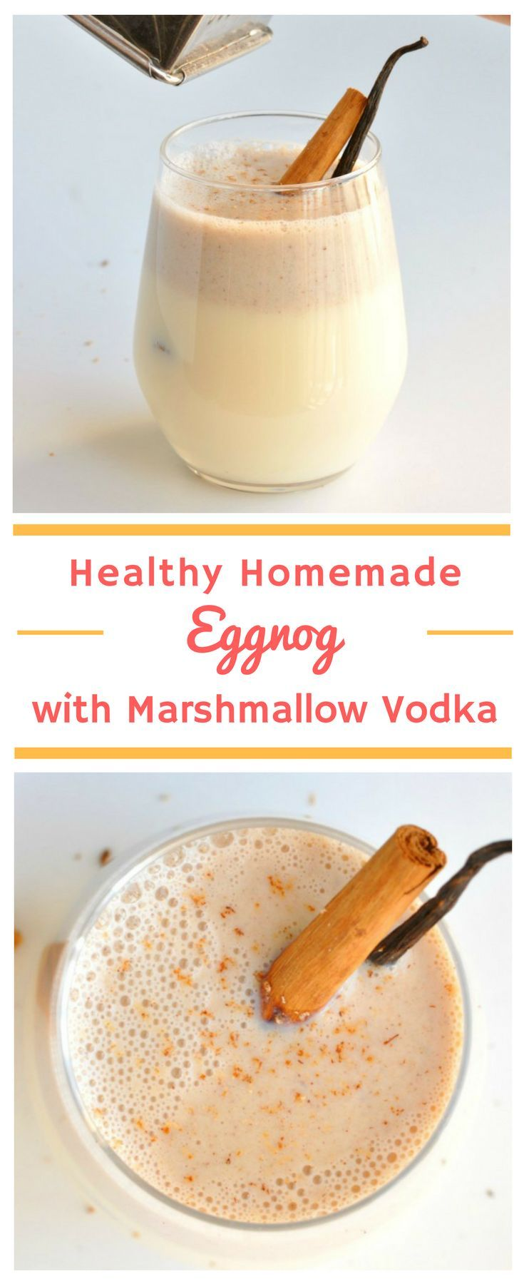 Healthy Eggnog with Marshmallow Vodka   This is the only eggnog recipe you'll ever need! A modern twist on a classic Christmas drink, everyone loves this delicious Christmas cocktail. #Christmas #MerryChristmas #DrinkRecipe #CocktailRecipe #HealthyRecipe #Eggnog #EggnogRecipe #HealthyDrinks #HealthyCocktails #ChristmasDrinks #ChristmasCocktails #ChristmasParty #HomemadeEggnog