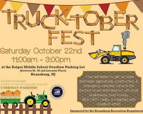 Truck-tober 10/22/16 11-3pm FREE admission FREE pumpkins to the first 125 kids! Do you have a truck or vehicle you want to display? Or a child-centered buisness to set up a booth? Message us!  Tag your friends, repost!! #radio #Keansburg #monmouthcounty #njevents #unbrokenwarriors #foragoodcause #fundraiser #middlesexcounty #truckdriver #trucks #touchatruck #fest #octoberfest #harvest #farm #tractors #pumpkins #toddlerstyle #toddlerfun #kidagain #ptsdawareness #holmdel #shoplocal #nj