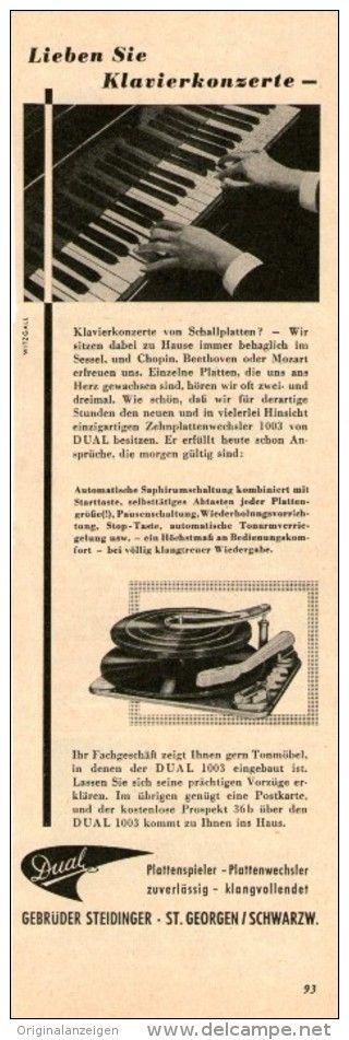 Original-Werbung /  Anzeige 1955 - DUAL PLATTENSPIELER - ca. 70 x 220 mm