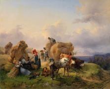 Жанровые сцены, Вальдмюллер Фердинанд Георг, Уборка урожая в предгорьях Альп