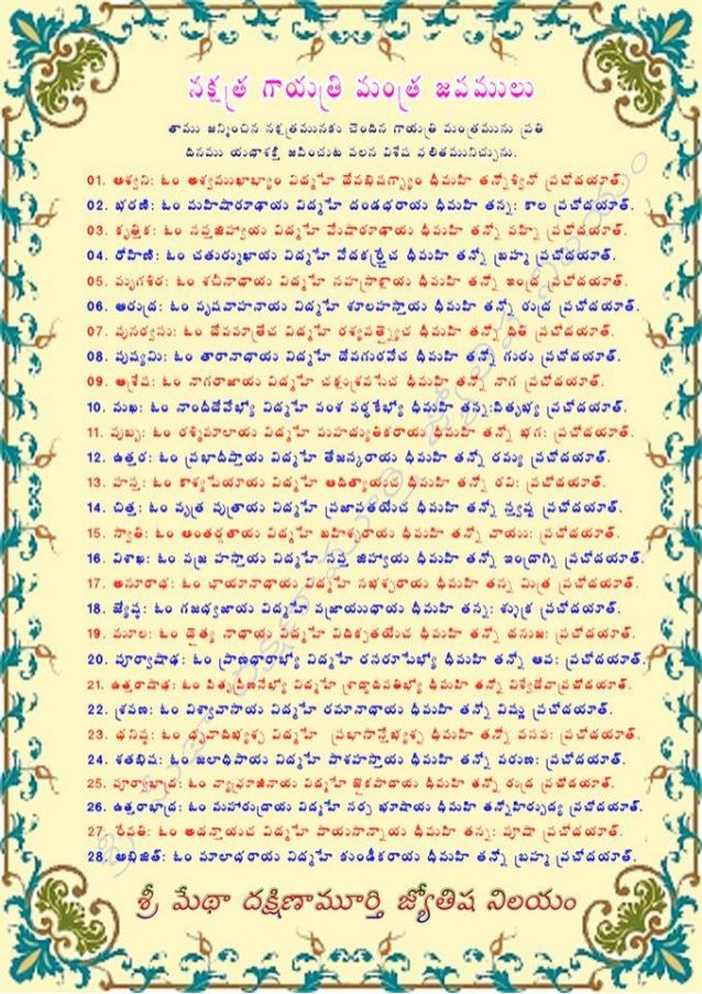 telugu Nakshatra Mantras