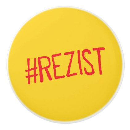 rezist romania political slogan resist protest sym ceramic knob - home decor design art diy cyo custom