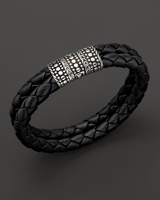 John Hardy Mens Dot Silver Black Woven Leather Bracelet | Raddest Men's Fashion Looks On The Internet: http://www.raddestlooks.org