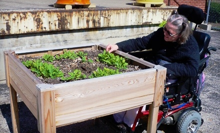 Garden Station was able to purchase untreated cedar wood, brackets, concrete, and hardware to construct two wheelchair-accessible garden beds for disabled residents.