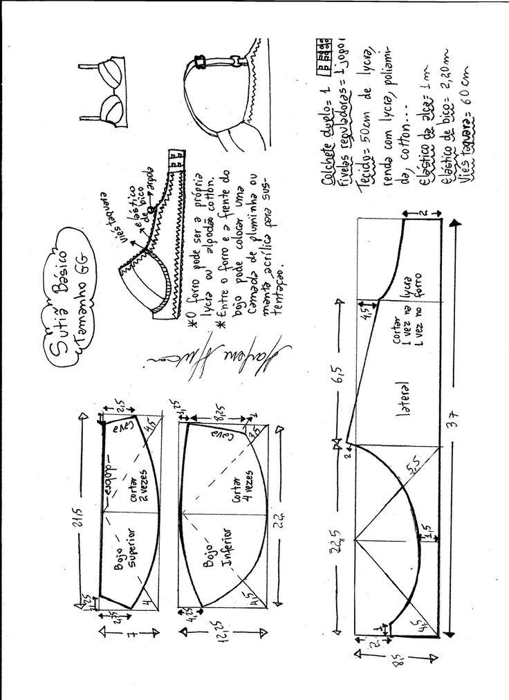 Esquema de modelagem de sutiã tamanho GG.