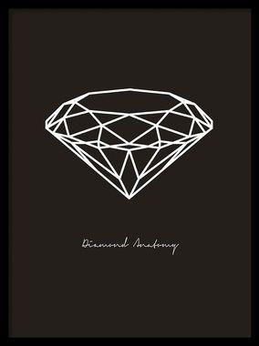 Grafisk tavla med vit diamant på svart bakgrund. Svartvit poster i 50x70cm.